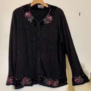 Berek Embellished Black w/ Purple Cardigan NWT